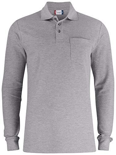 CliQue Men's Long Sleeve Pocket Pre-Shrunk Soft Cotton Polo Shirt, (Grey, L)