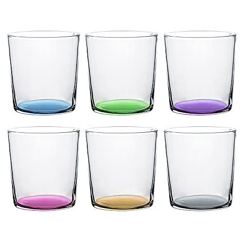 UNISHOP Set de 6 Vasos de Agua de Colores Pastel, Vasos de Cristal Multicolor y Transparentes, Aptos para Lavavajillas