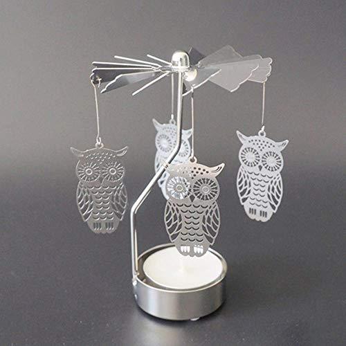 niawmwdt Kerzenhalter Rotierende Romantische Rotation Spinnen Karussell Teelicht Kerzenhalter Weihnachten Home Party Hochzeitsengel, Nr.3