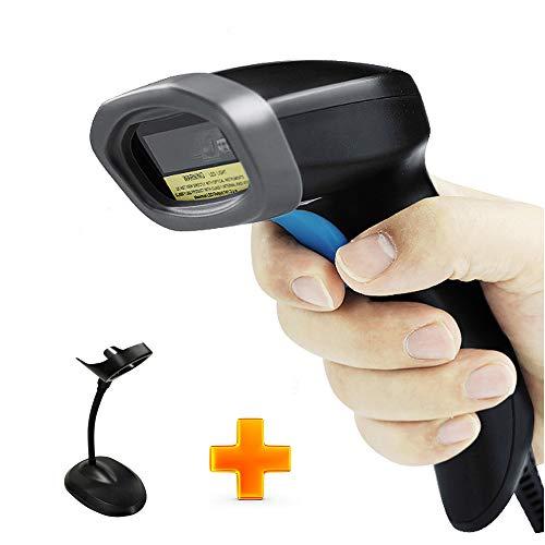 Inlight Barcode-Scanner, 1D POS Barcode-Scanner, USB, kabelgebunden, riesiger Barcode-Bereich, unterstützt UPC/EAN Code39, Code128, Code93, schnell kompatibel mit Mac Win10, iOS, Linux (Stand)