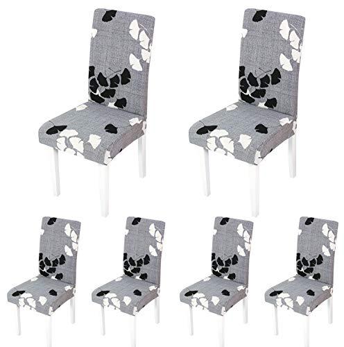 ARNTY Stuhlhussen 4er 6er Set,Stretch Stuhl Bezug Esszimmer,Universal Moderne Elastische Hussen für Stühle für Esszimmer Party Hotel Restaurant Deko (Grau-Ahornblatt, 6 Stück)