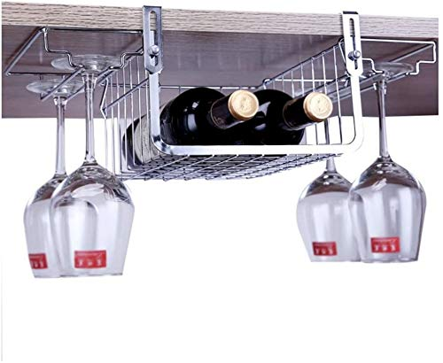 TUHFG Wine Rack Cup Holder, 304 Stainless Steel Wine Cup Holder Upside Down Wine Rack Decoration Hanging Storage Wine Glass Shelf Wine Glass Rack
