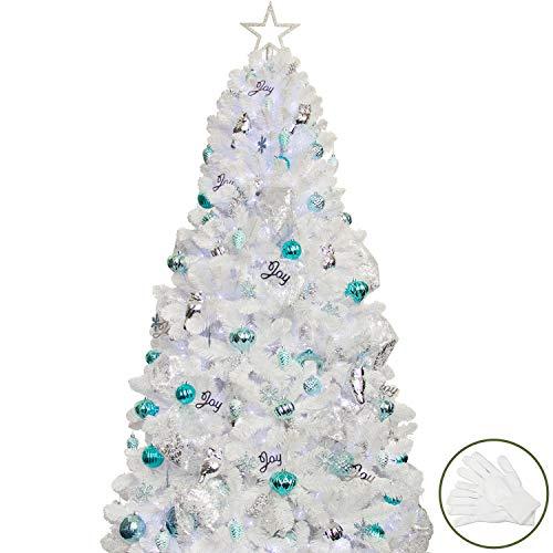 �rbol de Navidad blanco con adornos incluidos –210 cm