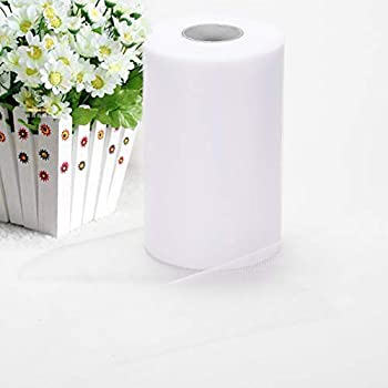 Haperlare 6 Inch x 200 Yards  600FT  White Tulle Rolls Tulle Spool White Tulle Fabric Rolls Wedding Tulle for Gift Bow Craft Tutu Skirt Wedding Party Decorations