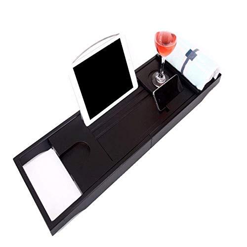 Gxfeng Support de plateau de baignoire Plaque de support de baignoire extensible réglable multifonctions avec support pour verre à vin/téléphone portable et support de serviette, 74-109x23cm