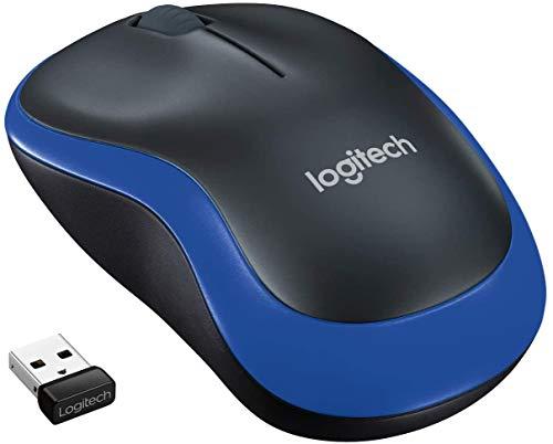 Logitech M185 Mouse Wireless, 2.4 GHz con Mini Ricevitore USB, Durata Batteria 12 Mesi, Rilevamento Ottico 1000 DPI, Ambidestro , PC/Mac/Laptop, Blu