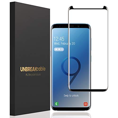 UNBREAKcable Panzerglas Schutzfolie für Samsung Galaxy S9 Plus - 3D gebogen, 9H Härte,Anti-Bläschen,Anti-Kratzen, Premium Panzerglasfolie Displayschutzfolie für Samsung Galaxy S9 Plus - 1 Stück
