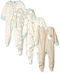 Includes four Gerber sleep n' plays with mitten cuffs Soft cotton jersey Front zipper opening makes dressing and changing easier