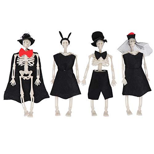 TomaiBaby 4 peças Halloween Noivo Noiva Decoração Crânio Fantasma Ornamentos Halloween Desktop Decoração Bunny Girl Estilo Fio Preto
