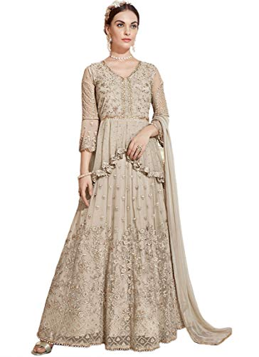 Miss Ethnik Women's Grey Net Semi Stitched Top With Unstitched Bottom and Dupatta Embroidered Flared Top Dress Material (Gown) (SF-988)
