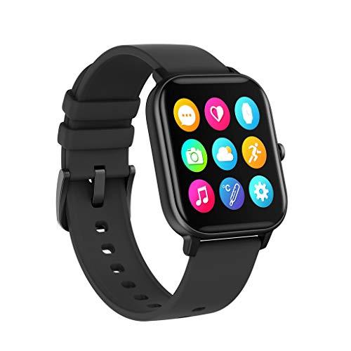 Smartwatch 1.4 Zoll Voll Touchscreen Wasserdicht Fitness Tracker Armband Sport Uhr mit Pulsmesser Blutdruckmessung Herzfrequenzmessung Temperaturmessung Telefonieren Funktion für Damen Herren (Black)