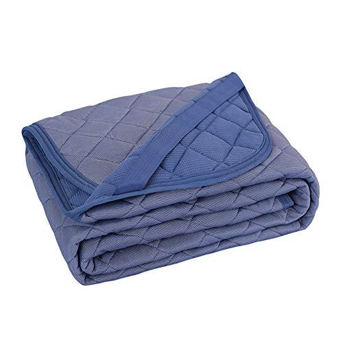 VK Living 敷きパッド 夏用 シングル リバーシブル 冷感 しきぱっと ひんやり シーツ オールシーズンで使える 吸湿速乾 洗える ベッドパッド 防ダニ 抗菌防臭 一年間品質保証 100×200cm ネイビー