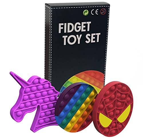 ARGOOD Pop it Fidget Toy Pack .3 Push Pop Bubble de Juguetes antiestres: Pop it Unicornio,Spiderman...