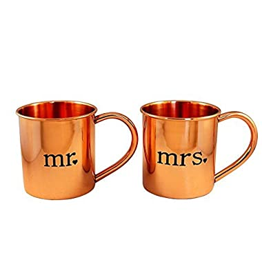 Mr. and Mrs. Copper Mugs for Moscow Mules - 100% pure copper