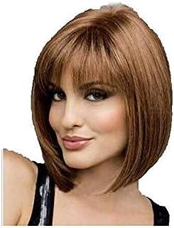 European Fashion Woman Natural Real Hair Straight Short Wigs BoB Hairstyle Periwig-brown
