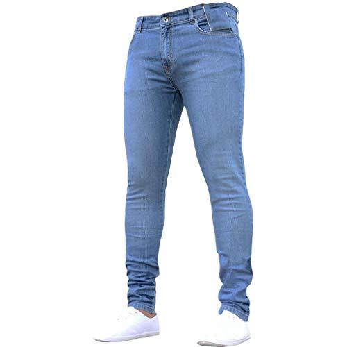 Subfamily Pantalón Slim Denim de Color Liso para Hombre, Pure Color Denim Cotton Vintage Wash Hip Hop Pantalones de Trabajo Jeans Pantalones Azul S