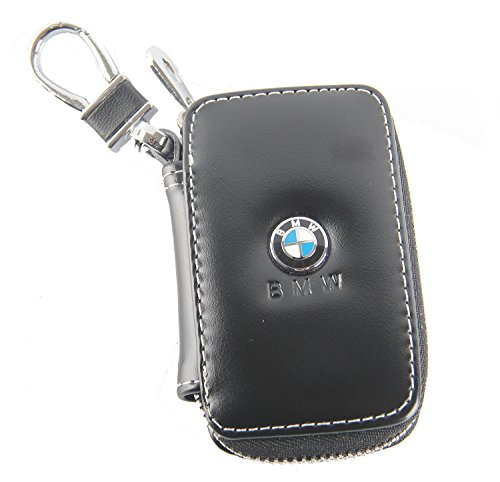 Black Key chain Bag Leather Ring Holder Case Car Auto Coin Universal Remote Smart Key cover Fob Alarm Security Zipper keychain Wallet Bag (Bmw)