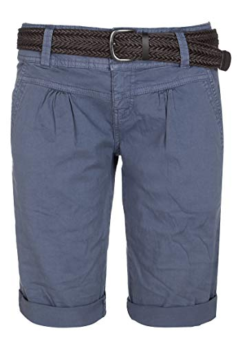 Fresh Made Damen Bermuda-Shorts im Chino Style mit Gürtel Middle-Blue L