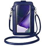 Kleine Leder-Tasche für Touchscreens mit Sichtfenster, Kartenfach für Samsung Galaxy Note 20 10 S10+ S20 Plus A10S / Moto G Stylus, G7 / OnePlus 8 / LG Stylo 5 (blau)