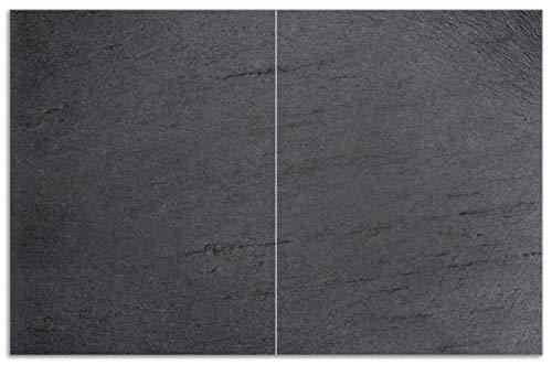 Wallario Herdabdeckplatte/Spritzschutz aus Glas, 2-teilig, 80x52cm, für Ceran- und Induktionsherde, Motiv Schwarze Schiefertafel Optik – Steintafel