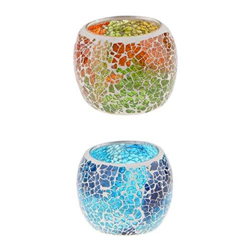 MagiDeal Tisch Mosaik Glas Kerze Teelichthalter Votiv Kerzenhalter Schüssel Hochzeitsfeiertage Weihnachtsdekor 2 Oder 4St - A