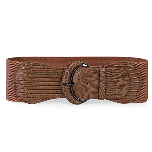 JASGOOD Women Stretchy Wide Waist Belt for Dress Ladies Elastic Belt Hook Buckle (Suit for Waist Size 32-38 Inches,B-Brown)