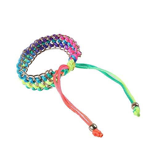 BVCX - Reloj de pulsera de cuerda trenzada de varios colores, 42 mm/46 mm/activo/correa de muñeca con correa de malla de metal (color de la correa: colorido)