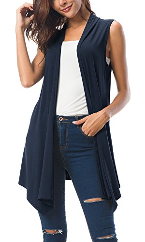 Women's Sleeveless Draped Open Front Cardigan Vest Asymmetric Hem (L, Navy Blue)