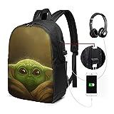 Le Sac à Dos pour Ordinateur Portable Mandalorian Yoda (1) - avec Port de Chargement USB/Sacs à Dos imperméables décontractés pour l'école de Voyage de Travail