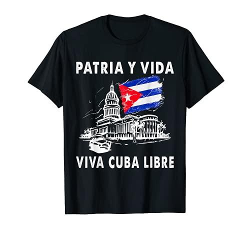 VIVA CUBA LIBRE Patria Y Vida CLÁSICA camiseta El Capitolio Camiseta