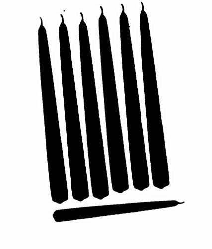 D'light Online Elegant Taper Premium Quality Candles, Hand-Dipped, Dripless and Smokeles - Set of 12 Individually Wrapped (12 Inch, Black)