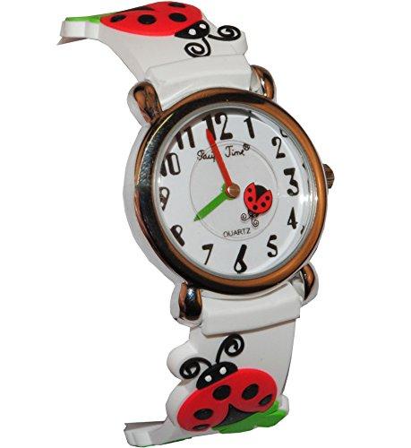alles-meine.de GmbH 3-D Kinderuhr Marienkäfer Kleeblatt - Uhr Kinder Armbanduhr Silikon Tiere Glück Tier Mädchen Analog