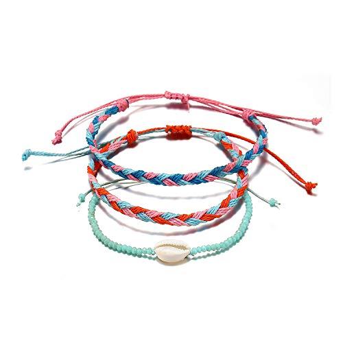 Starain 6 Pcs Summer Wave Beach Bracelet Women Girls Boho Handmade Waterproof Wax Coated Adjustable Braided Rope Bracelets Set