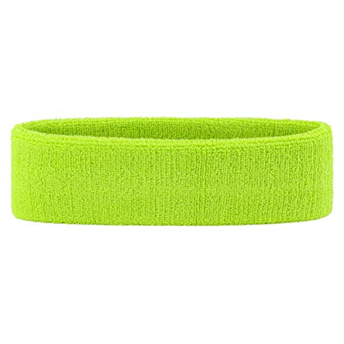 OnUpgo Sweatband Headband Sports Sweatbands Terry Cloth Athletic Exercise Basketball Headbands Moisture Wicking Sweat Absorbing Head Band (HEADB - Neon Green)