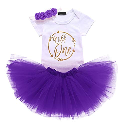 FYMNSI Wild One Baby Girl First Birthday Cake Smash Outfit 1st One Year Party Clothes Cotton Short Sleeve Romper Bodysuit Princess Tutu Tulle Skirt Flower Headband 3pcs Set Photo Props Dark Purple