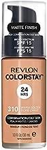 Revlon ColorStay Liquid Foundation Makeup for Combination/Oily Skin SPF 15, Longwear Medium-Full Coverage with Matte Finish, Warm Golden (310), 1.0 oz