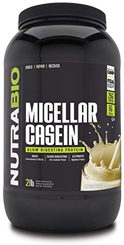 NutraBio Micellar Casein - Slow Digesting Protein Powder (2 Pounds, Alpine Vanilla)
