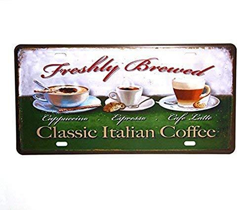 License Plate Frame, Classic Italiaanse Koffie Vintage Metalen Teken Aluminium Tekenen en Prints License Plate Home Decor Muurstickers 6