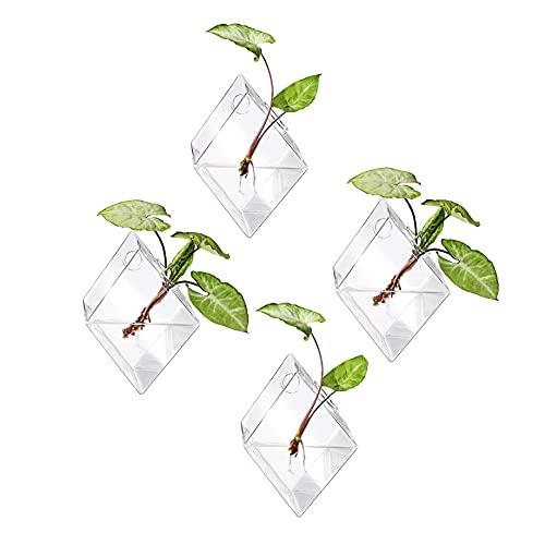 Ivolador 4PCS Wall Mount Hanging Glass Plant Terrarium Diamond Shape Perfect for Propagating Hydroponic Plants Home Garden Wedding Decor