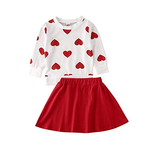 Toddler Baby Girl Valentine's Day Clothes Heart Pullover Top Solid Mini Skirt Little Valentines Outfits Set (Red, 3-4 Years)