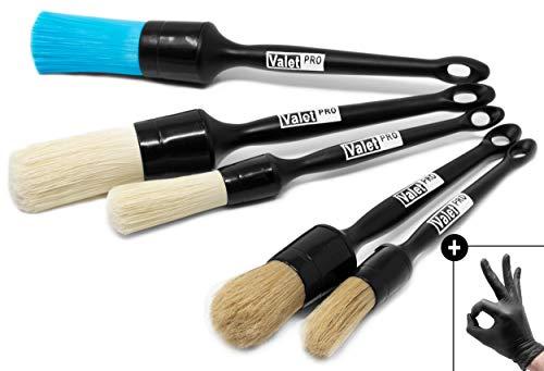 Detailmate - ValetPRO Pinsel Brush Set - Felgenreinigung - Innenreinigung - Außenreinigung - chemieresistent - für schonende Detailarbeit + 2 detailmate Nitril Schutzhandschuhe