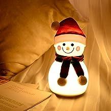 woyada Sneeuwman Nachtlampje, Kerstmis Nieuwjaar Cartoon Siliconen USB LED Lamp, Muziekmodus & 7 Kleur Veranderende Lamp