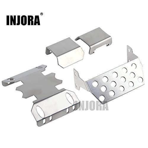 INJORA RC Skid Plate Set, RC Chassis Armor Protector Plate per 1/10 RC Crawler Axial SCX10 II 90046 90047 90059 90060