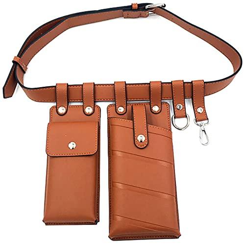 Fansport Cintura per Cintura Doppia Ecopelle Portatile Portatile Fanny Pack Borsa Cintura Anca per Le Donne