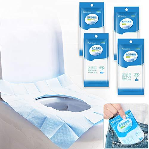 Protector WC Desechable Impermeable, Yolistar 40pcs Protector Water Desechables Papel Cubre Inodoro, Antibacteriano Talla Universal Funda Desechable wc para Baño, Proteger el medio ambiente