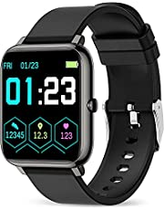 Popglory Smartwatch, fitnesstracker met bloedzuurstof, bloeddruk, hartslagmeter, IP67 waterdicht Smartwatch fitnesshorloge voor mannen vrouwen voor Android iOS