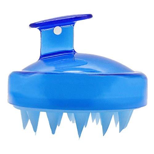 FISH4 Shampooing Brosse Mini Silicone Tête Cuir Chevelu Peigne Laveuse Cheveux Nettoyant De Massage Outil, Transparent Bleu