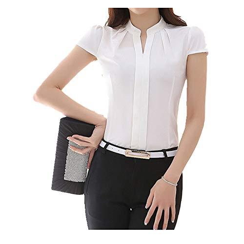 N\P Professional top Large Formal Women's Base Chiffon Short Sleeve Shirt White