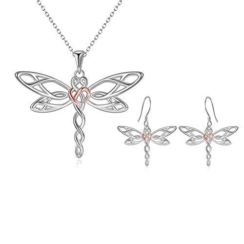 Poplyke Dragonfly Necklace Earrings