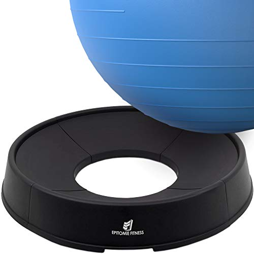 Exercise Ball Base - Stand for Balance Balls Fits Balls from 55cm to 75cm - Convert Stability Ball to Office Chair or Pregnancy Seat - Also Resistance Bands Ready from Epitomie Fitness